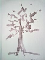 sad tree on canvas by AngelCARMINE