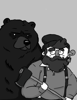 Man And Bear by The--Woodsman