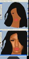 Cassie painting process by grizzlie