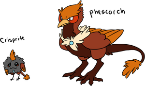 Fakemon - Crisprite and Phescorch by mute-owl