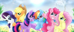 MLP FIM - Mane 6 Summer Vacation by Joakaha