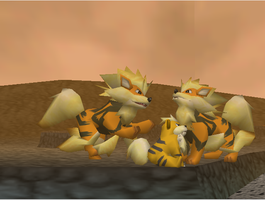 Pokemon Snap Growlithe and Arcanine by SusanLucarioFan16