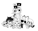 Abnormal Group Pic Lineart by ChocolateDollie