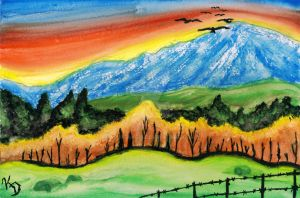 Rainbow Colored Sunset Against the Fall Mountain by MangaKeri