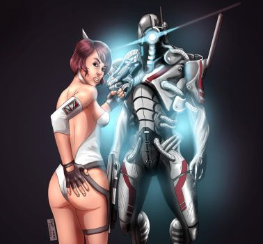 Commander Shepard and The Geth by 6anti6hero6