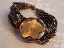 Bronze-coloured star watch with seed bead strap by Quested-Creations
