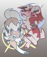 Lycanroc and The Sun and Moon by HiKazeDragon