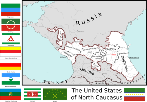Map of the United States of North Caucasus by Coliop-Kolchovo