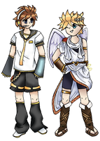 Pit and Len crossover by SLaura-chan
