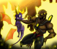 Spyro,Sackboy,Vs Chimera by ZzNightmareGirlzZ