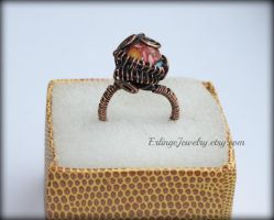 Copper wirewrapper ring by Linuziux