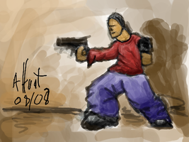 Guy with guns by shweebie