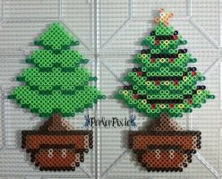 Christmas Tree Mushrooms by PerlerPixie