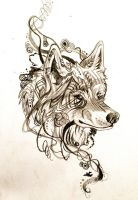 Wolf Tattoo Design by Lucky978