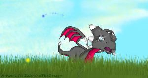 Cynder on the sunny meadow by ZahninaTheDragon