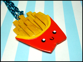 Happy Fries Necklace by GrandmaThunderpants