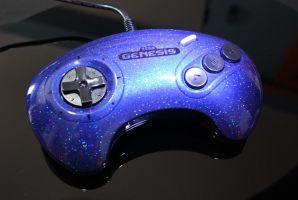 custom Sega genesis controller  with blue holo fla by Zoki64