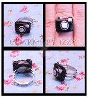 Kitsch black camera ring polymer clay by CharmsByIzzy