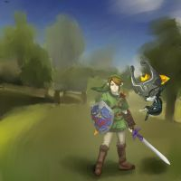 Link and Midna by the-untamed-emily
