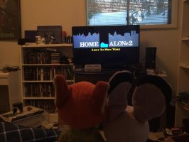 Nick and Judy watching home alone 2 by EJLightning007arts