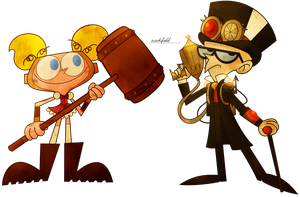 Steampunk Dee Dee + Mandark by Wickfield