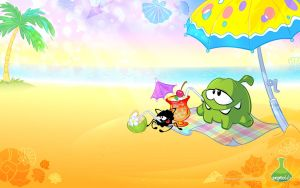 OmNom and Spider at the sea by Maksim2d