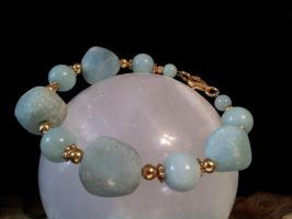 Amazonite And Brass Bracelet by BacktoEarthCreations
