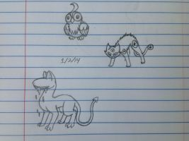 Three creatures sketch - 1/2/14 by Jestloo