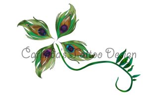 Peacock Feather Four Leaf Clover Tattoo Design by Ayearie