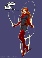 Phoenix - Jean Grey - red-black (Tee design) by nadav