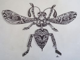 Zentangle wasp top view by luzilla