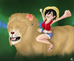 Female Luffy on a Lion by KCampbell499