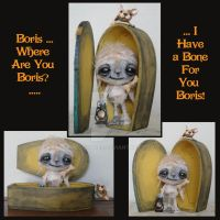Boris and Karloff (a OOAK sculpture) 2 by peggytoes