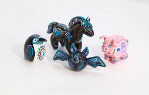Native animal totems in polymer clay by lifedancecreations