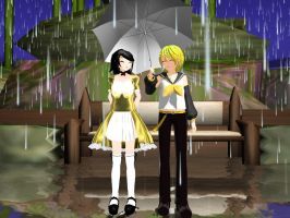 Rinto Kagamine x Rui Kagene: In the rain by Ginger-Hill