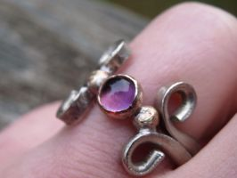 Amethyst ring in nickel and copper by whippetgirl