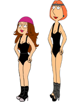 Lois and Meg Griffin in Flashdance by darthraner83