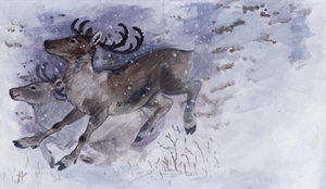 Christmas Card: running deer by Camelid