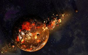 Lava planet with forming moon by Xprinceofdorknessx