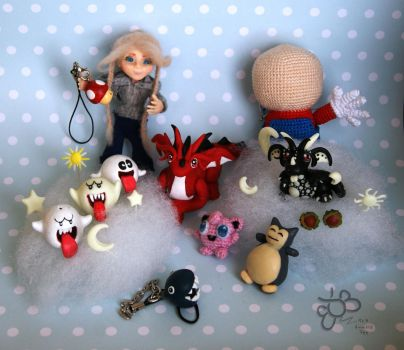Selection from Year 1 Amigurumi and Polymer Charms by ItsaBumbleDee