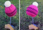 Newborn Handknit Hat, Pink and Purple by kateknitsalot