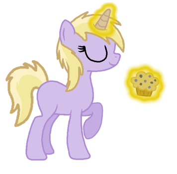 Dinky levitating a muffin by Secret-Cheesecake