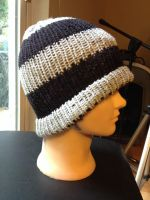 Loom knit cap! Grey and black bands by Arachnoid
