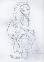 Sketch: Sonic and Miku by Baitong9194