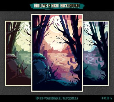 Halloween Night Background #1 by olgameola