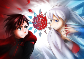 Ice Rose- Ruby vs Weiss by ARSONicARTZ