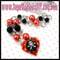 Polka Dots and Skulls Necklace by SugarAndSpiceDIY