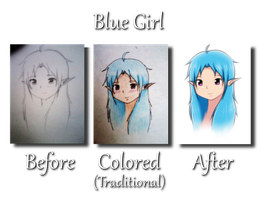 Blue Girl - Before and After by tabbycat1212
