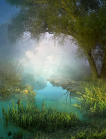 Premade background - Foggy Morning by Euselia