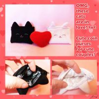 Black-n-White Cat Pouches by BlueDove415